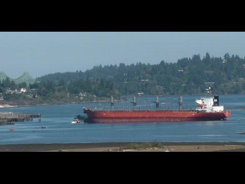 Time Lapse of Cargo Freighter Ship - Docking - Crane Loading - Departing ~ Coos Bay Oregon
