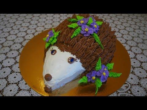 Детский торт ЁЖИК приготовит каждый Простой рецепт Украшение тортов кремом