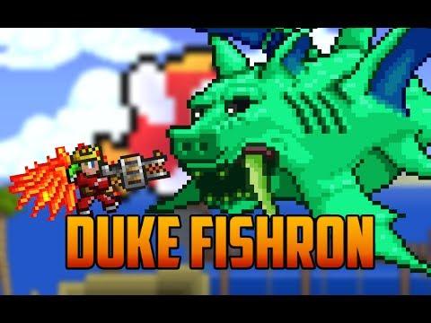 Terraria - Duke Fishron Boss with Adamantite Armor & Gatligator