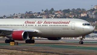 Omni Air International Boeing 767-300ER Taxi and Takeoff San Diego