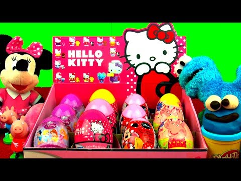 EPIC 12 Surprise Eggs Unboxing HELLO KITTY Minnie Mouse DISNEY PRINCESS Peppa Pig