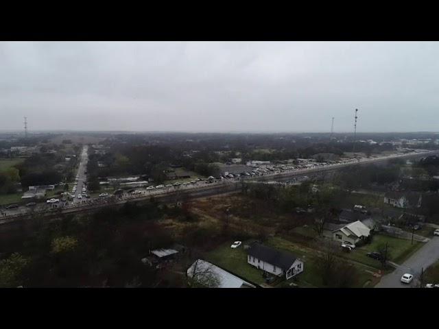 Bird's eye-view of George HW Bush funeral train