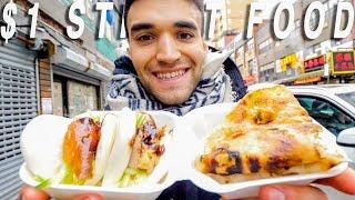 Living on $1 Street Food Around The World! (Ep. 1 / NYC)