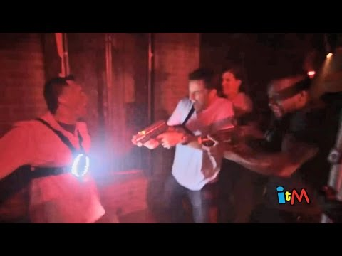 Laser zombie shooting haunted house experience in Howl-O-Scream...