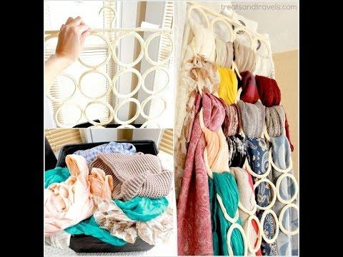Организация и хранение  шарфов.3 способа