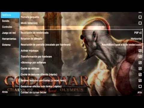 La mejor configuración de God of War Chain of Olympus para emulador psp Android gama baja (2018)