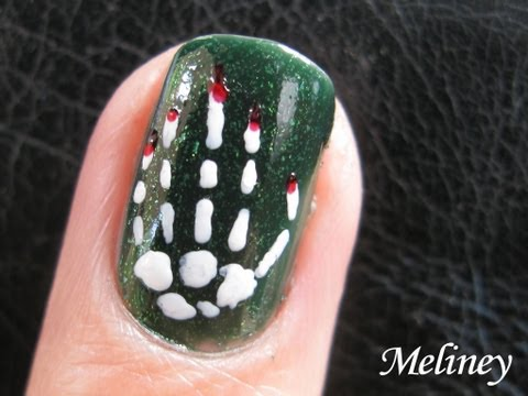 Halloween Skeleton Nails - Bones Bloody Hand Skeleton Nail Art Design for short nails