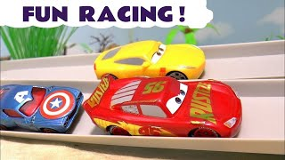 Disney Cars 3 Lightning McQueen Racing Fun with Hot Wheels Superhero Avengers Cars for kids TT4U