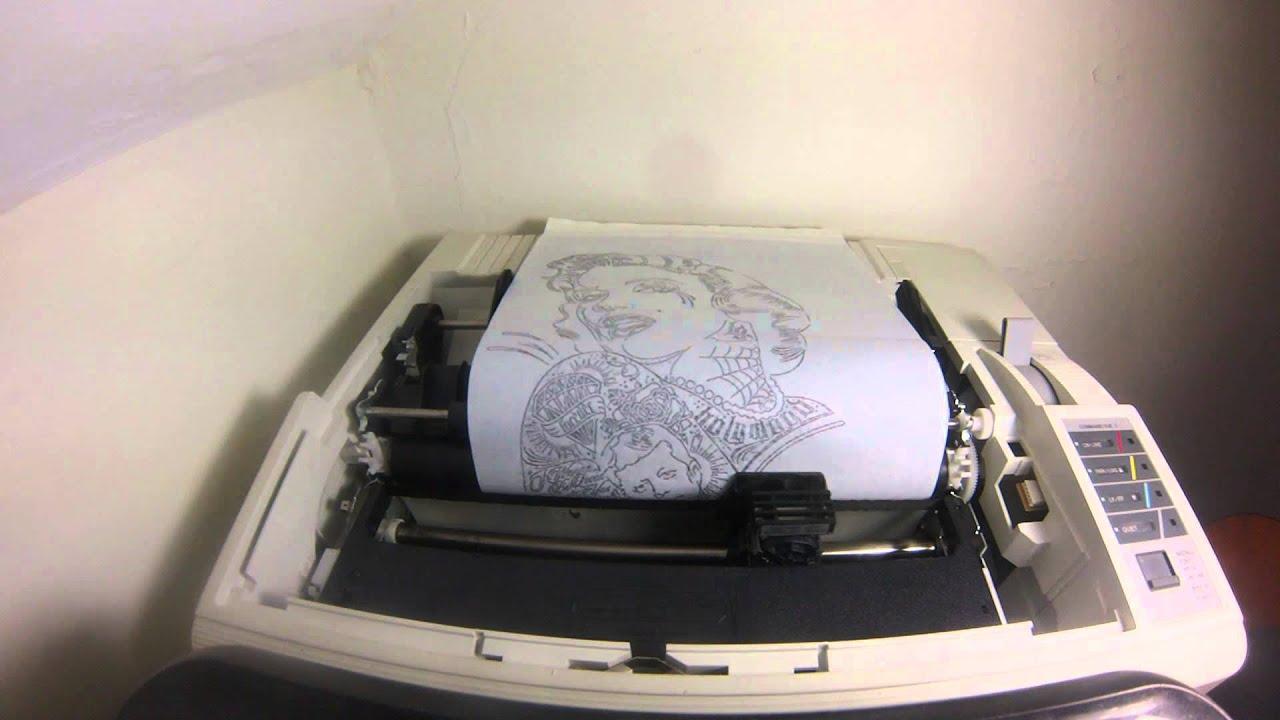 Dot matrix tattoo stencil printer youtube for Tattoo stencil copier