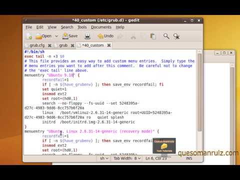 Editing / Adding Grub 2 Menu Entries (Ubuntu 9.10 and Up)