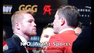 CANELO GIVING G THE DEATH STARE IN FINAL FACE OFF! WHO DO YOU GOT?!