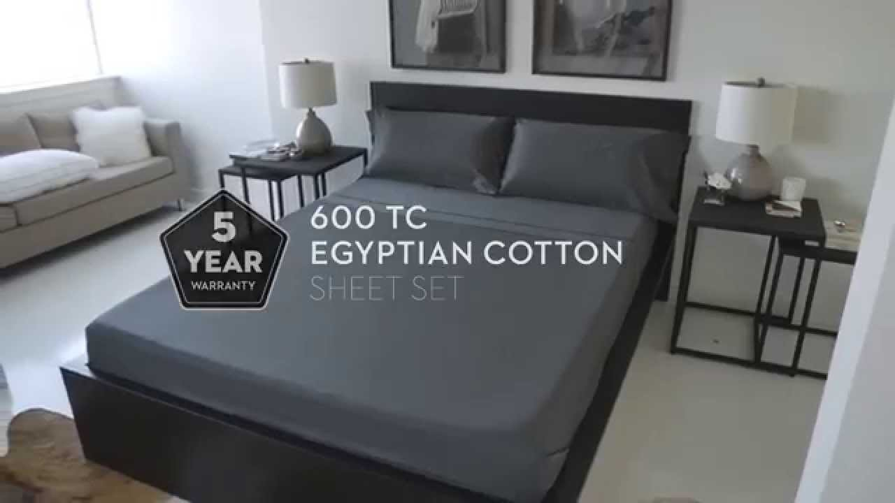 600 TC Egyptian Cotton Sheets by Malouf - YouTube