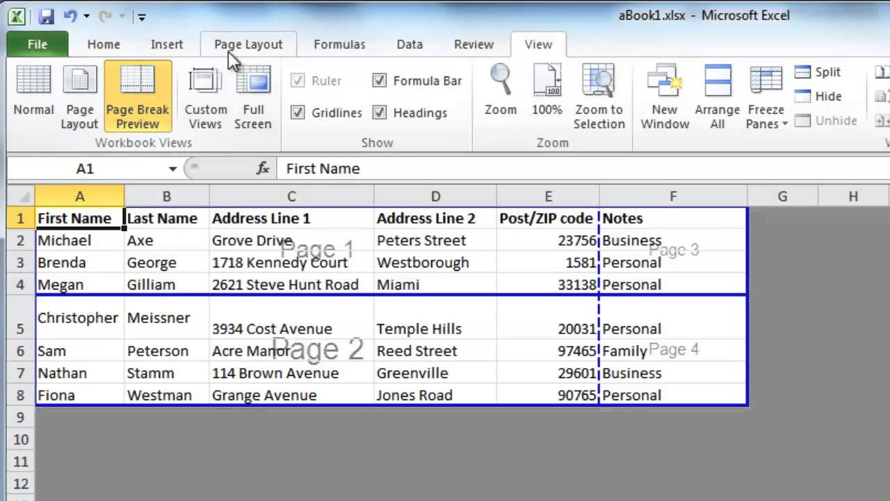 Page Break 2010 Word Excel 2010 Page Breaks