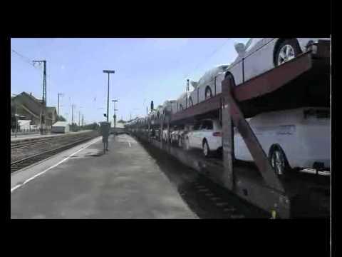 With an Audi car train BR 155 million train