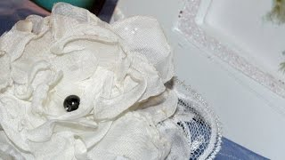 Fabric Flower tutorial video. Make your own decoration. Цветок из ткани. Украшение.