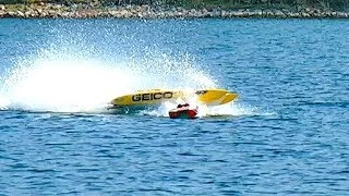 BRUTAL COLLISION RC POWERBOAT SPEEDBOAT CRASH AT 150 KMH (94 MPH) INCREDIBLE INCIDENT