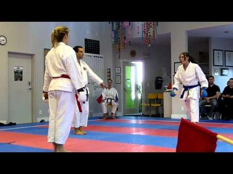 Women sparring in karate charleswood vs winnipeg budokai  idsl 2012
