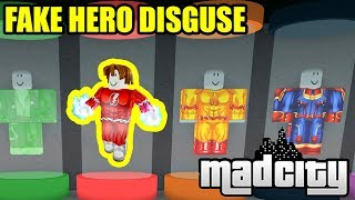 DISGUISING as the HERO SPAWN.. | Roblox Mad City New Update