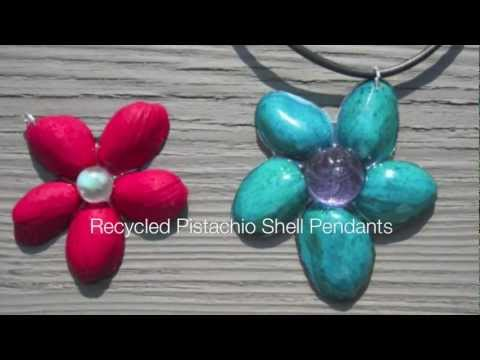 Recycled Pistachio Shell Resin Pendant