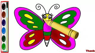 How to draw Butterfly for kids - Butterfly drawing video - Butterfly drawing for kids