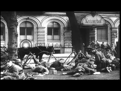German Monarchists parade on street in Berlin, Germany as Nazi Party soldiers loo...HD Stock Footage
