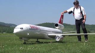 Hair sharply Landing Big Radio Controlled Airliner SWISS MD-11 Turbine Model Jet