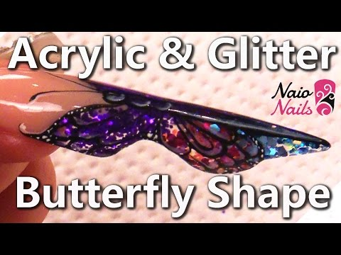 How to Sculpt an Acrylic & Glitter Butterfly Nail Tutorial