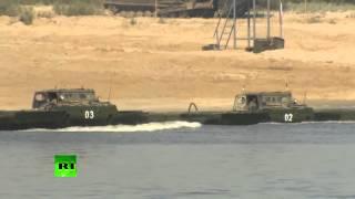 Армия России Муром переправа тяжелой понтонной военной техники через ОКУ 3 08 2014