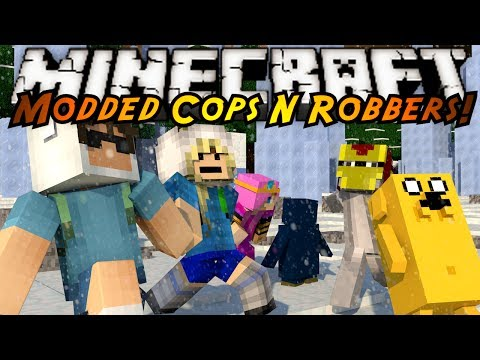 Minecraft Mini-Game : MODDED COPS N ROBBERS! ADVENTURE TIME!