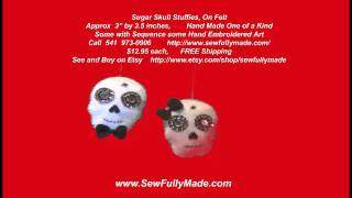SUGAR SKULLS FELT PADDED  ART REAR VIEW MIRROR DECORATION MEXICAN WEDDING