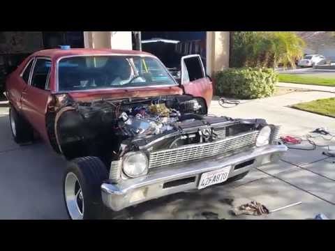 CHEVY NOVA BIG BLOCK BUILD PT 19 REAL FIRST START