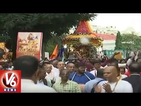 ISKON Holds Jagannath Rath Yatra Festival In Hyderabad | V6 News