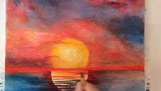 Ocean Sunset watercolor tutorial, how to paint step by step, easy and fast