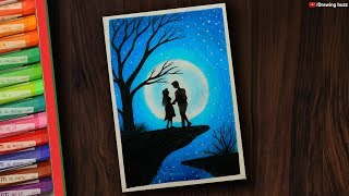 Couple Moonlight scenery drawing with Oil Pastels step by step | Drawing Buzz