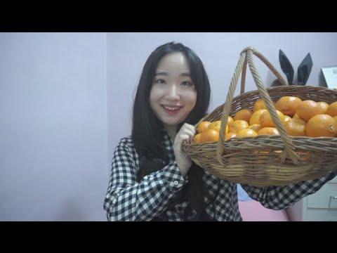3d Korean 한국어 Asmr 귤까먹기,이야기하기 orange Eating Sounds video