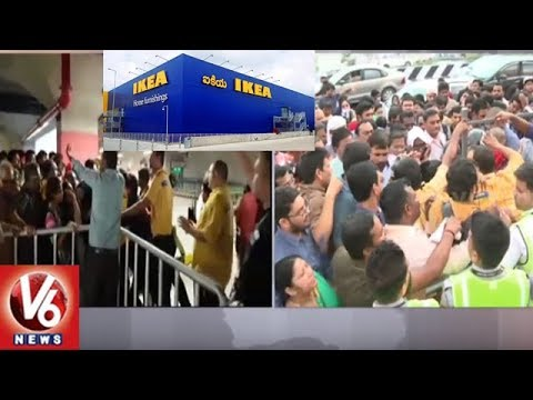 Huge Crowd Causes Massive Traffic Jam At Newly Opened IKEA Store In Hyderabad | V6 News