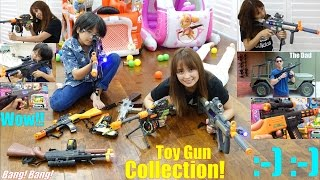 Safe Toy Guns! Children's Toy Gun Collection. Toy Guns with Lights and Sounds. Diecast Car Corvette