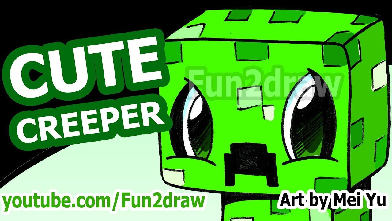 cute creeper how to draw a minecraft creeper fun2draw