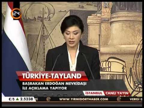 Başbakan Recep Tayyip Erdoğan ile Tayland Başbakanı Yingluck Shinawatra'nın Dolmabahçe'deki  görüşme