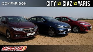 New Honda City vs Maruti Ciaz vs Toyota Yaris 2019 Comparison | Hindi | MotorOctane