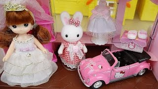 Baby doll Rabbit Wedding shop and Hello Kitty car toys