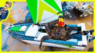 Lego Sailboat Attacked by Crab!
