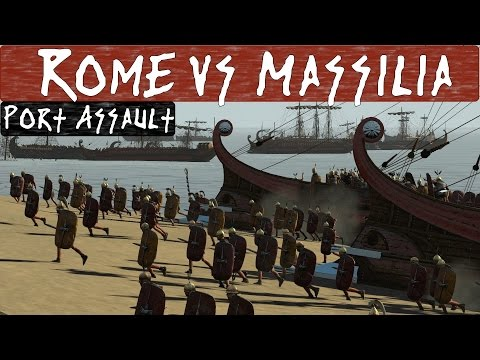 Total War Rome 2 Online Battle : 2v2 Port Assault : Rome vs Massilia