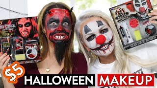 TRYING $5 HALLOWEEN MAKEUP KITS!!