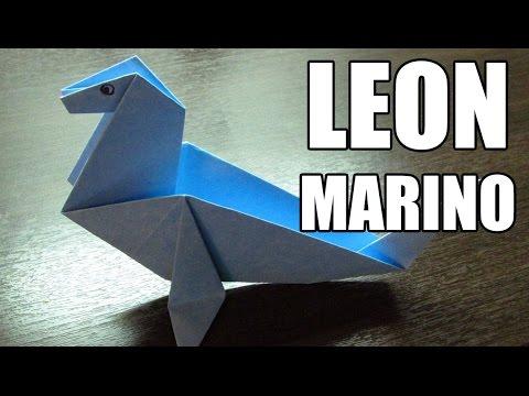 Como hacer Figuras de papel LEON MARINO en Origami (Muy fácil)