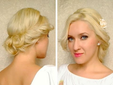 Curly updo for medium long hair tutorial with headband Hairstyle for everyday, p