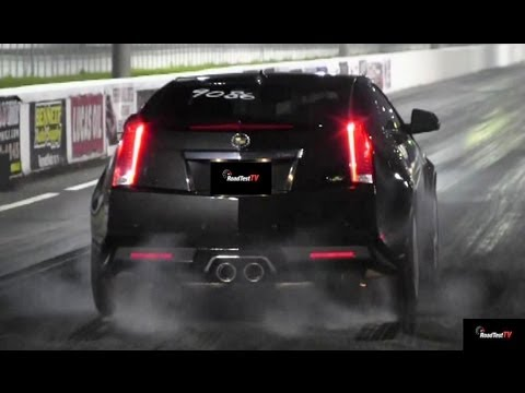 650 HP Shelby GT500 Mustang vs 556 HP CTS-V Drag Race Video - Heads Up - Road Test TV