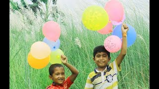 Kids Playing with Balloons in Natural View and Nursery Rhymes