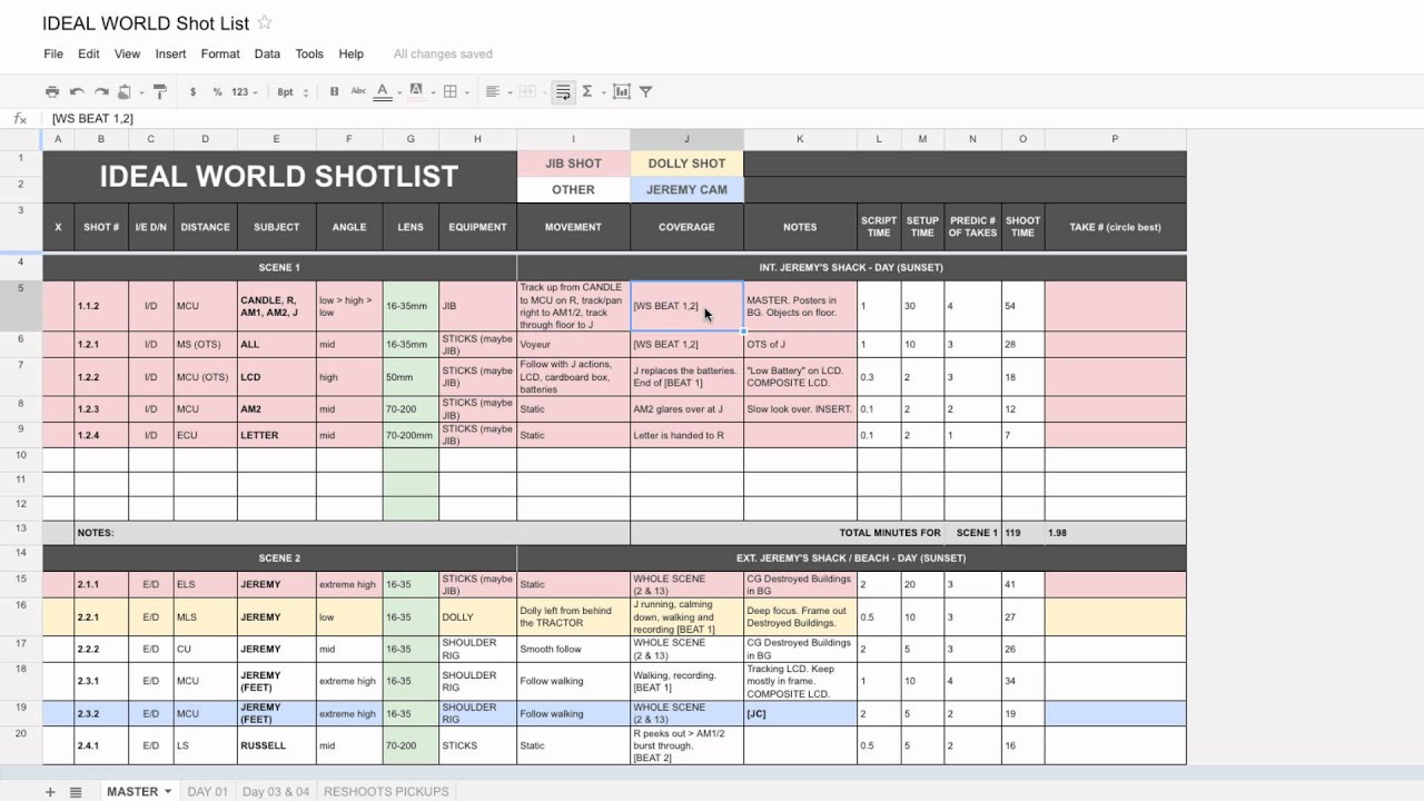 The Best Shotlist Template Youtube