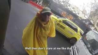 Crazy Raincoat Lady VS Mean Looking Biker